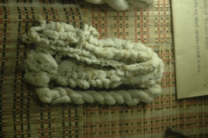 The yarn spun from a handloom by the Mahatma Gandhi himself.