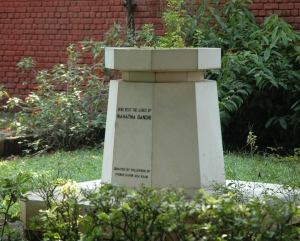 The ashes of the Mahatma rest here...