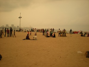 Chowpatty Beach as the locals start to come out
