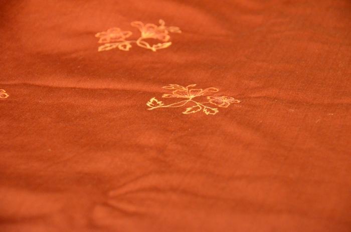 This is my favorite tablecloth, I break it out for any occasion.  Its my favorite color but also hand embroidered.  This was also purchased at the same Noida handloom shop.  Did I mention how much I miss that place?