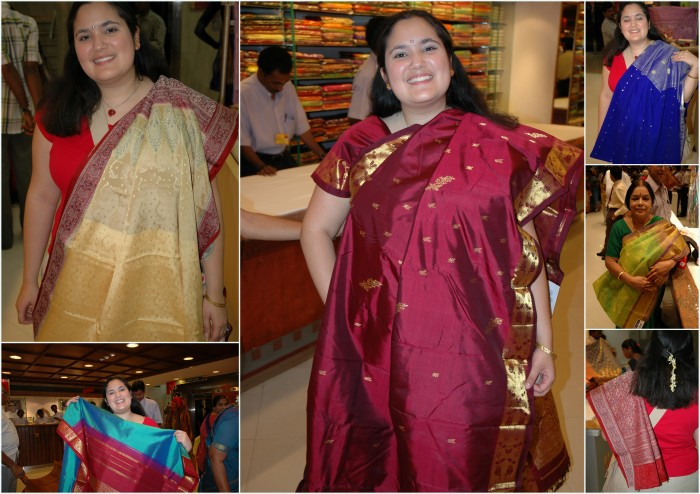 Wedding sari shopping in India and enjoying the plethora of choices.