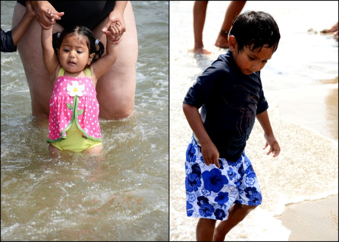My daughter loved the waves, while my son was a little less enthusiastic...