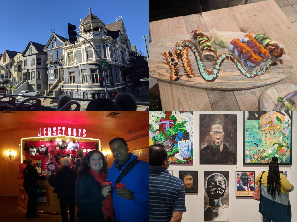Victorian Houses, Sushi on a decorated wood plate, a couple smiling in front of a Jersey Boys sign, A George Floyd painting in an art museum