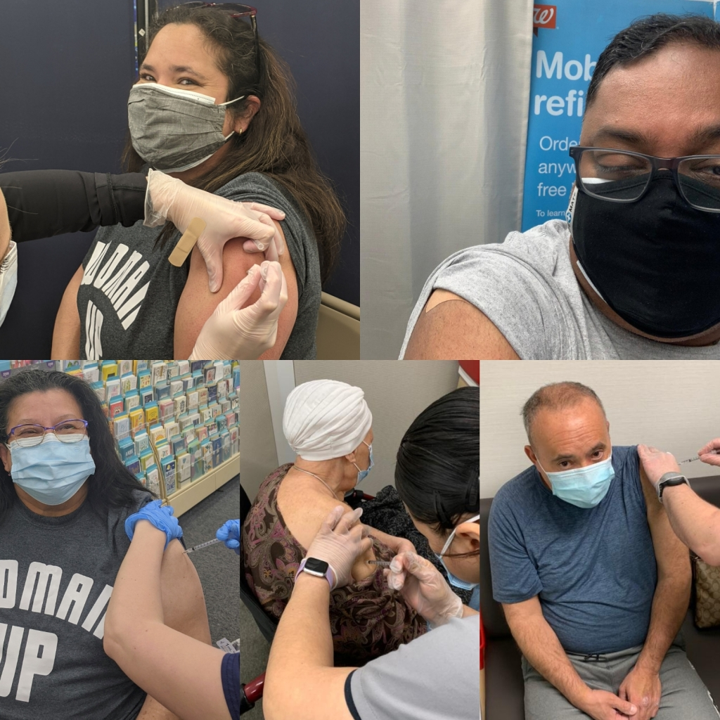 5 people receiving their COVID vaccine